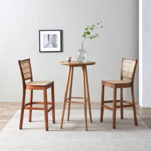 Walnut color wooden frame cane bar table and chair set