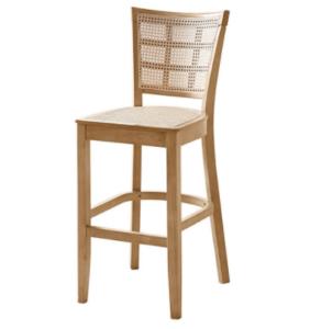 Natural ashwood frame cane high bar chair