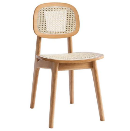 Natural ash wood frame cane dining chair