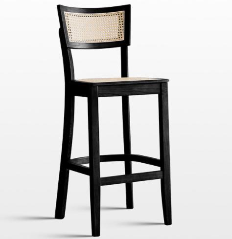 Modern design black wooden frame cane high bar chair