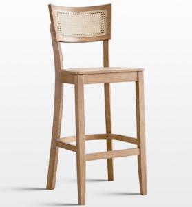 Modern design natural wooden frame cane high bar chair