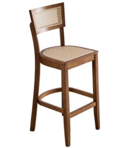 Modern design walnut wooden frame cane high bar chair