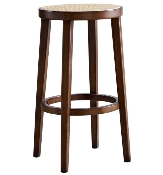 Walnut oak wood frame cane seat bar chair stool
