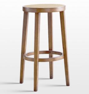 Natural oak wood frame cane bar stool