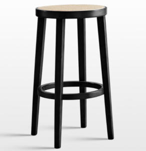 Black oak wood frame cane seat bar chair stool