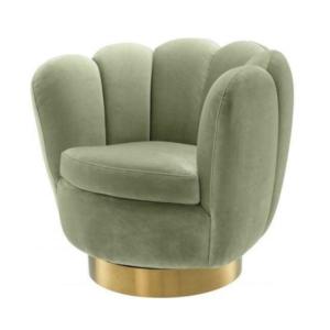 New design stainless steel base green velvet upholstery tub accent chair
