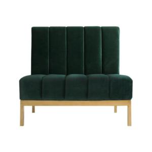 Golden stainless steel frame emerald green velvet upholstered sofa seating