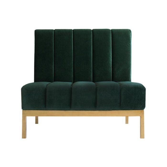 Grey Tufted Velvet 3 Seater Sofa Gold Legs