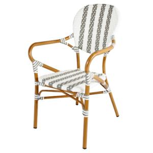Garden dining chair aluminum frame PE rattan bistro cafe chair