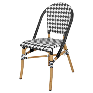 Stackable bistro chair aluminum frame with bamboo look restaurant dining chair