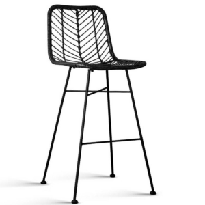 Outdoor furniture steel frame rattan barstool