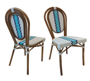 Aluminum frame bamboo french style bistro cafe dining chair
