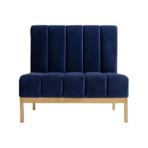 Stainless steel frame navy blue velvet upholstered sofa seating