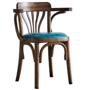 Wooden frame blue PU upholstered seat cushion cafe chair