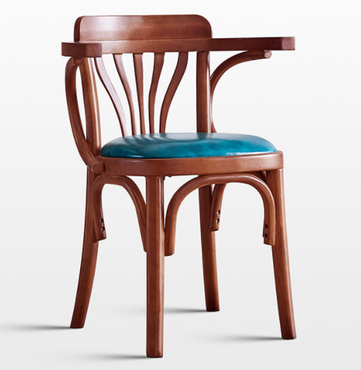 Wooden frame blue PU upholstered seat cushion dining chair