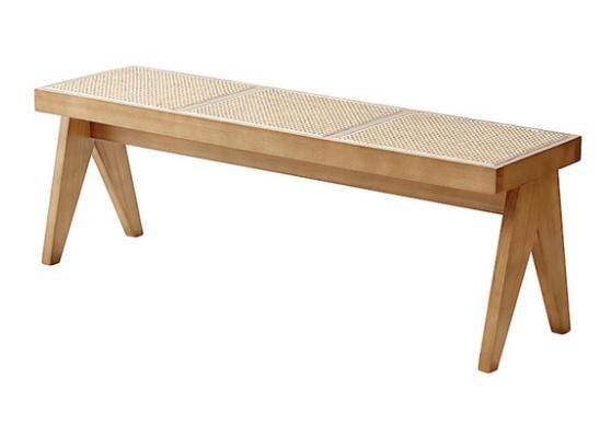 Natural ash wood frame cane seat bench