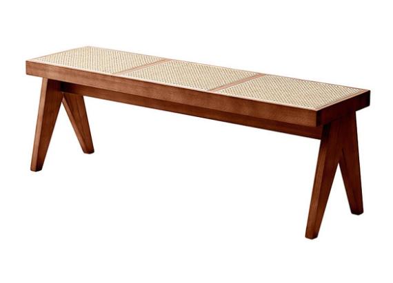 Cherry ash wood frame cane seat bench