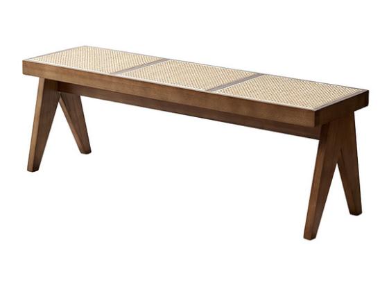 Walnut ash wood frame cane seat bench