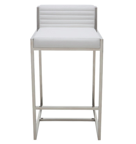 Polished stainless steel frame white leather bar stool