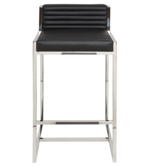 Polished stainless steel frame black leather bar stool