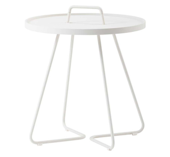 White powder coated aluminum outdoor side table