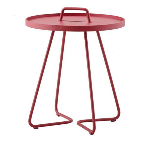 Garden furniture red powder coated aluminum side table