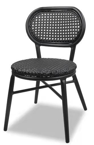 Black aluminum frame rattan garden bistro chair