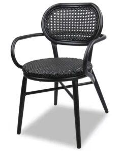 Black aluminum frame rattan restaurant dining chair