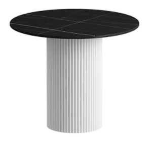 Round black sintered stone top with metal base coffee table