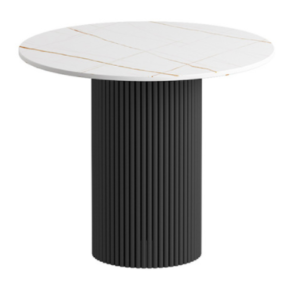 White sintered stone top with black metal base coffee table