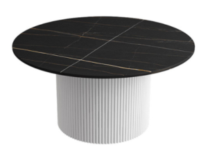 Black sintered stone top with metal base low coffee table
