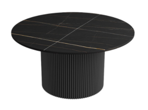 Sintered stone top with black metal base low coffee table