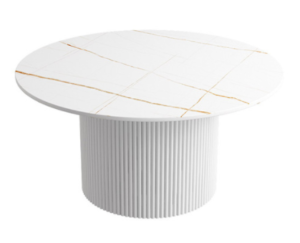 New design sintered stone top with white metal base low coffee table