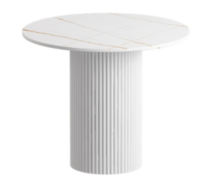 White sintered stone top with metal base coffee table
